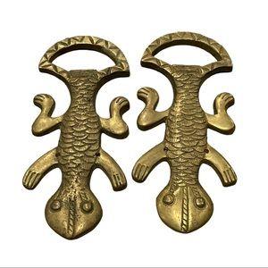 Vintage brass bottle openers figural lizards heavy